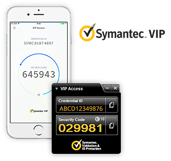 Samples of VIP Access mobile and desktop application